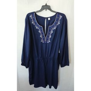 Navy Blue Old Navy Long Sleeve Embroidered Romper